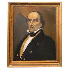 19th c Oil Painting Portrait of Statesman Daniel Webster