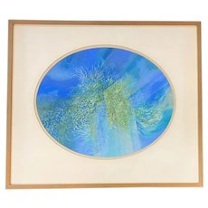 Robert Eshoo Oval Pastel Painting, Spring Refraction 1962