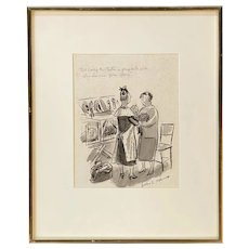 Helen Hokinson Original Pen & Ink Cartoon for New Yorker Magazine, Cat Show