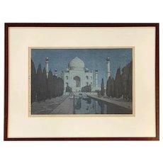 Hiroshi Yoshida Hand Colored Wood Cut with Seal, Taj Mahal - Night, 1931