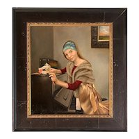 Mary Phillips Oil Painting of a Girl at the Piano, Musical Theatre