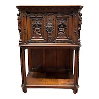 Continental Gothic Style Two-Door Cupboard or Altar with Figural Carving