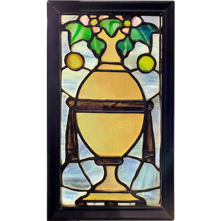 Early 20th c Diminutive Leaded Stained Glass Panel in Frame with Vase & Ivy