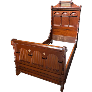 Eastlake Inlaid Walnut Single Bed with Tile Inlay
