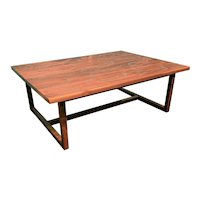 Peter Sandback Low Table with in Walnut with Inlaid Aluminum Nail Design