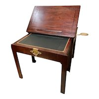 18th C English Mahogany Architect's Table with Brass Candle Slides