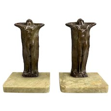 Pair of Art Nouveau Bronze Nude Bookends with Stone Bases