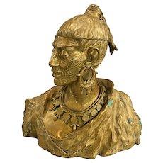 Unusual Bronze Orientalist Compartmentalized Bust Humidor