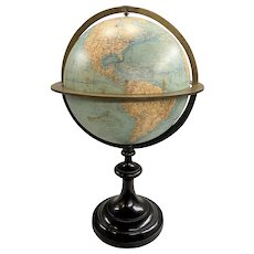 Large Table Top Terrestrial Globe by E. Andriveau-Goujon 1881