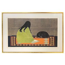 Will R. Barnet Limited Edition Print of a Girl with Cat , Dialogue in Green, 63/200