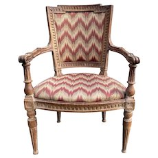 French Louis XVI Fruitwood Armchair with Flame Stitch Upholstery