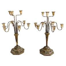 Pair of 19th c Decorative Italian Gilt & Metal 8-Light Candelabra