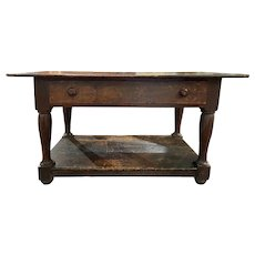 19th c American Sheraton Walnut One Drawer Work Table