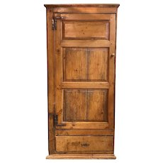 19th c English Pine Single Paneled Door Cupboard with Lower Drawer