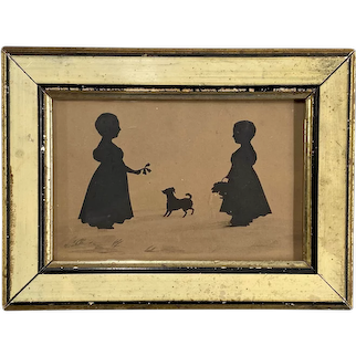 19th Century Silhouette on Paper of Two Children with a Dog