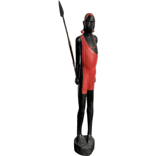 Large African Folk Art Carving of a Standing Massai Warrior with Spear