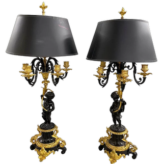Pair of Classical Style Candelabra Form Gilt & Ebonized Table Lamps with Figures