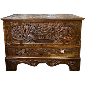 18th c Blanket Chest with Later Nautical Carving of a Barc Ship & Lighthouse, Westport MA