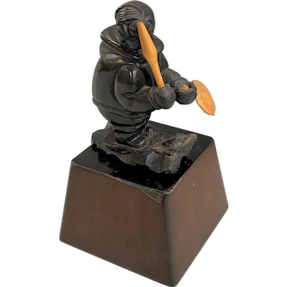 Inuit Carved Stone Drummer with Wooden Drumstick and Drum, possibly Argillite