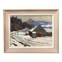 Aldro Thompson Hibbard Oil Painting Winter Landscape, The First Snowfall
