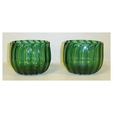 Pair of Emerald Green Glass Finger Bowls
