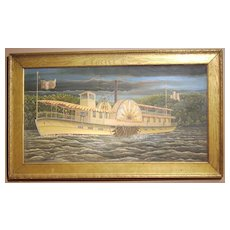 "Signed folk art painting of a Sidewheeler or Paddle Steamer ""Knockerbocker"""