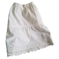 Antique White Cotton Doll Slip with Eyelet Edge