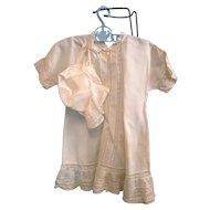 Antique White Cotton Child's Dress with Bonnet