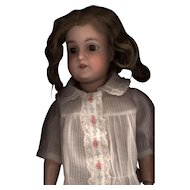 Vintage White Organdy Doll Blouse with Shadow Stripe Material and Embroidery