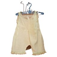 Vintage White Cotton Doll Romper with Lace Edging