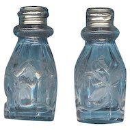 Vintage  Intaglio Cut Glass Salt and Pepper Shakers