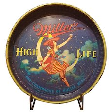 "Vintage 13"" Maiden on the Moon Miller High Life Beer Tray"