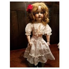 Antique White Cotton Doll Slip with Dotted Swiss Flounce