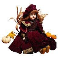 "Vintage Burgundy Velvet Doll Dress and Coat for a Large 28""-30"" Doll"