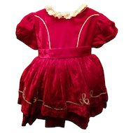 Vintage Red Velvet Child's Dress