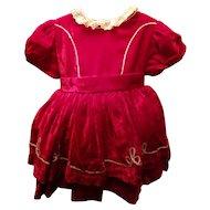 Vintage Red Velvet Child's Dress