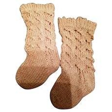 Vintage Hand Knit Cotton Doll Stockings