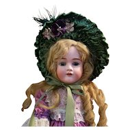 Vintage French Style Green Velvet Doll Bonnet