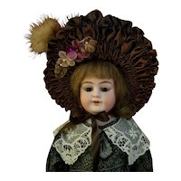 Vintage French Style Brown Taffeta Doll Bonnet