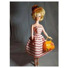Vintage Orange Plastic Fashion Doll Purse and Hat