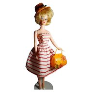 Vintage Orange Plastic Fashion Doll Purse and Hat