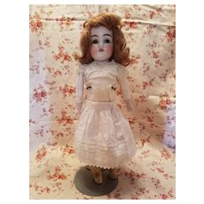 Antique White Cotton Doll Slip with Embroidered Hem