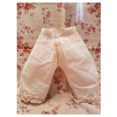 Antique Doll Pantaloons with Pink Ribbon Edge