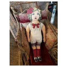 Vintage American Beauty Lithograph Cloth Doll