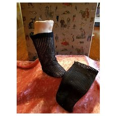 Antique Factory Made Black  Mesh Doll Stockings