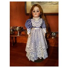 Vintage Blue Cotton Print Doll Dress with Lace