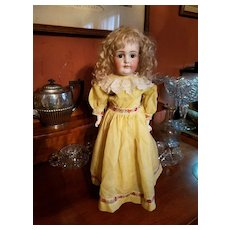 Vintage Yellow Cotton Doll Dress with Embroidered Trim