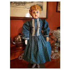 Vintage Blue Cotton Print Doll Dress