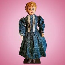 Vintage Blue Cotton Print Doll Dress