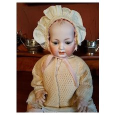 Vintage Cream Silk Baby Bonnet